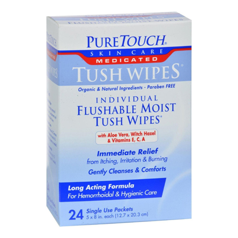 Pure Touch Skin Care Individual Flushable Moist Tush Wipes Medicated Packets, 24 Ea