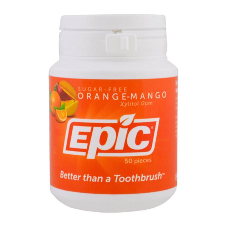 Epic Dental Sugar-Free Xylitol Gum with Orange-Mango, 50 Ea