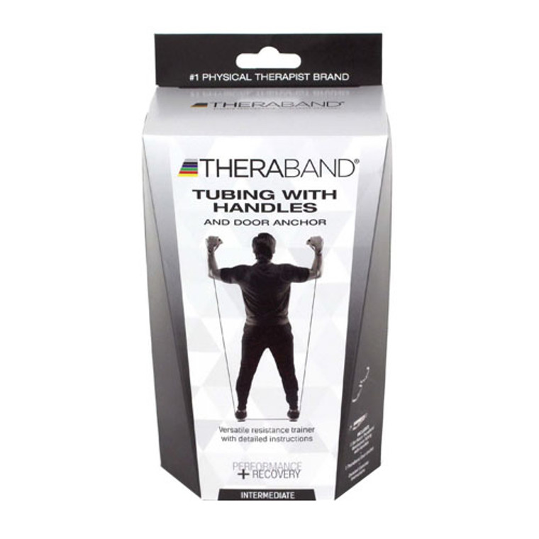 Theraband Tubing with Soft Handles and Door Anchor, Intermediate, Black, 1 Ea
