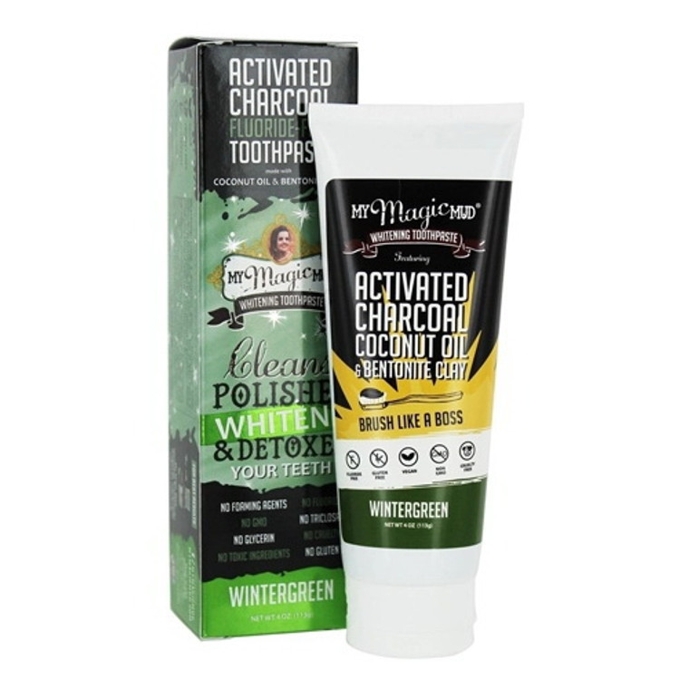 My Magic Mud Activated Charcoal Fluoride Free Whitening Toothpaste, Wintergreen, 4 Oz