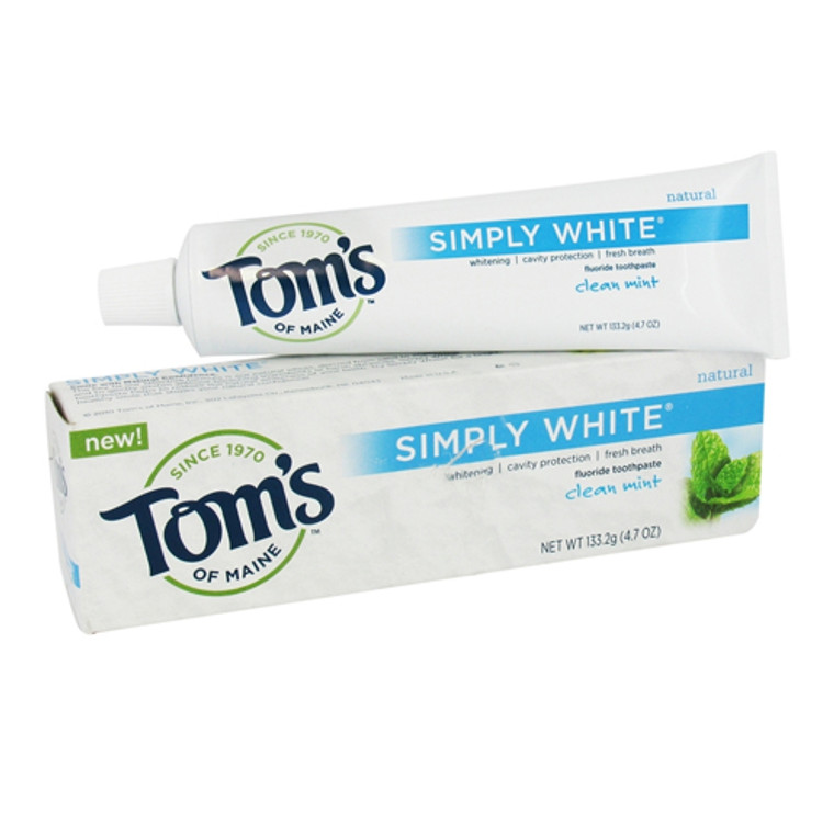 Toms Of Maine Simply White Natural Flouride Toothpaste, Clean Mint - 4.7 Oz