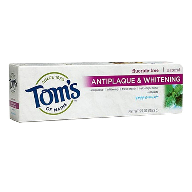 Toms Of Maine Antiplaque And Whitening Natural Toothpaste, Peppermint - 5.5 Oz