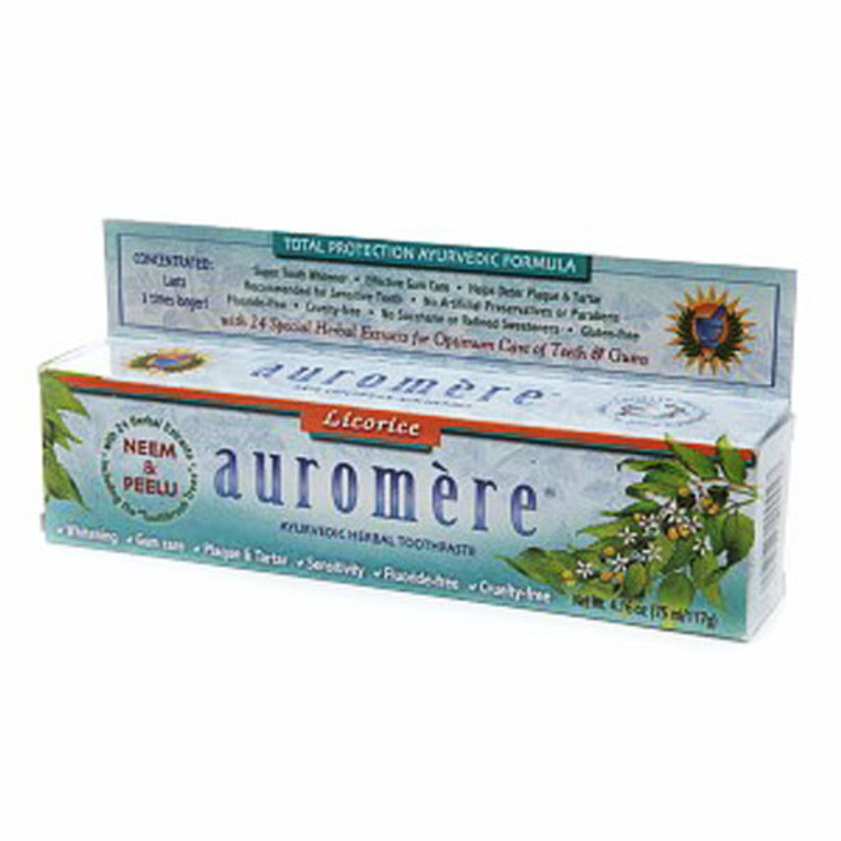 Auromere Ayurvedic Herbal Toothpaste Original Licorice, 4.16 Oz