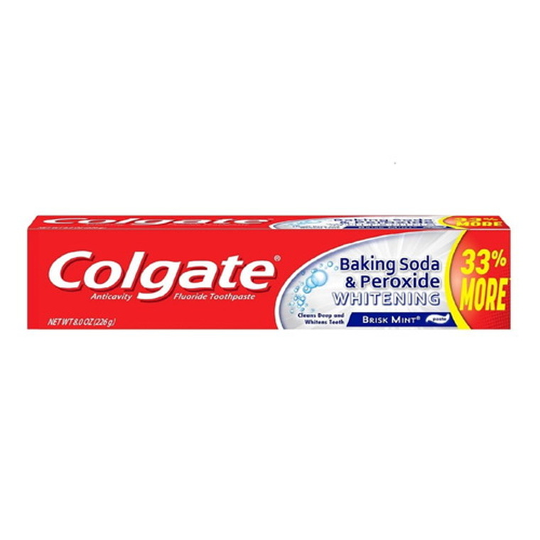 Colgate Baking Soda and Peroxide Whitening Bubbles Fluoride Toothpaste, Brisk Mint, 8 Oz