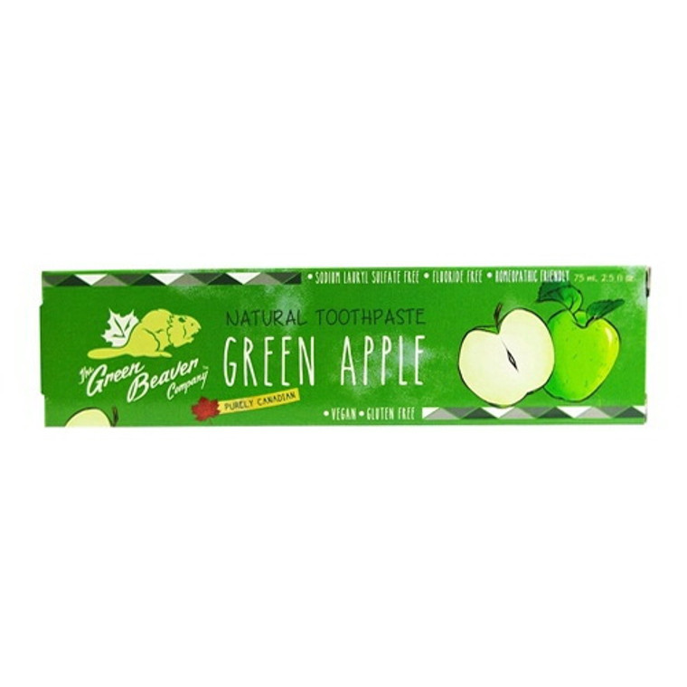 Green Beaver Natural Toothpaste, Green Apple, 2.5 Oz