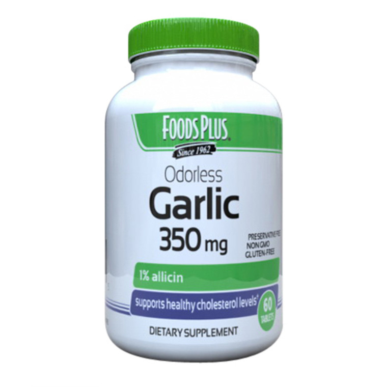Foods Plus Garlic 350 mg Odor Controlled Tablets, 60 Ea