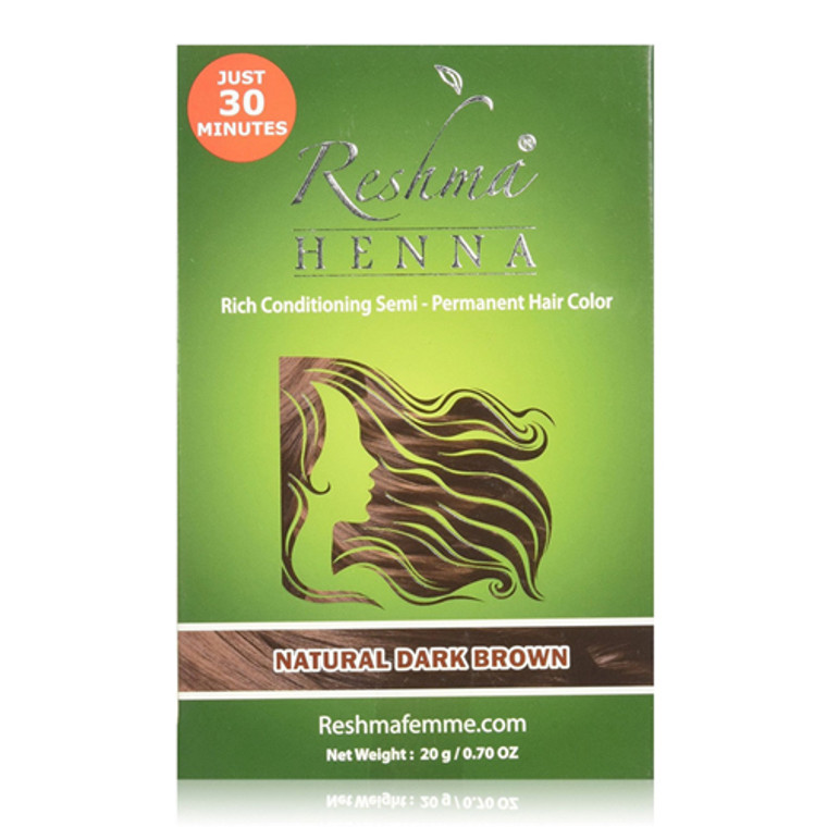 Henna Rich Conditioning Semi-Permanent Hair Color, Natural Dark Brown by Reshma Femme, 0.7 Oz