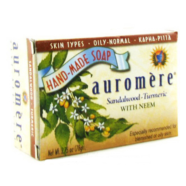 Auromere Ayurvedic Bar Soap For Blemished Or Oily Skin, Sandal Turmeric With Neem - 2.75 Oz