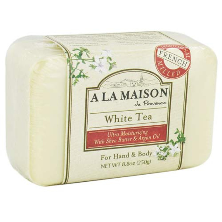 A La Maison Traditional French Milled Hand And Body Bar Soap, White Tea - 8.8 Oz.