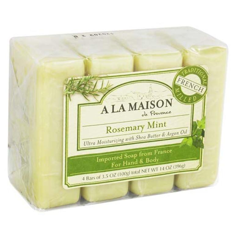 A La Maison Ultra Moisturizing Traditional French Milled Bar Soap 3.5 Oz, Rosemary Mint - 4 Ea