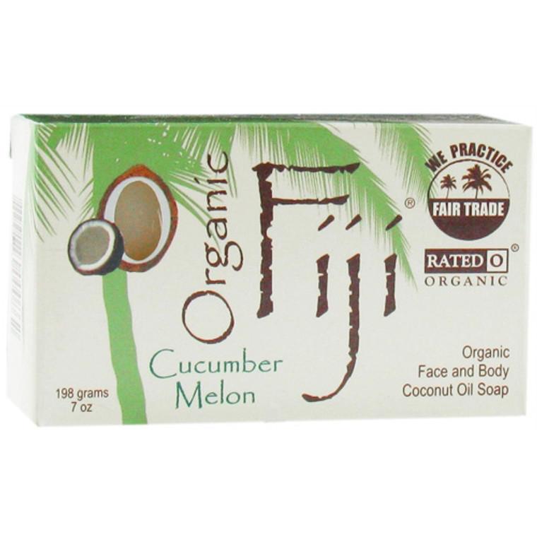 Organic Fiji Face And Body Coconut Oil Bar Soap, Cucumber Melon - 7 Oz