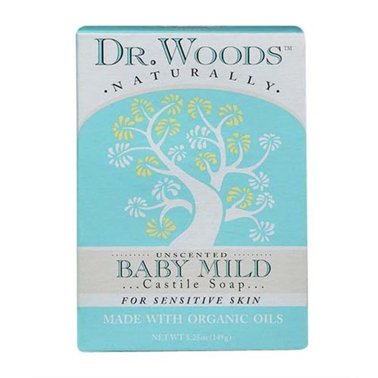 Dr Woods Naturals Unscented Castile Bar Soap For Sensitive Skin, Baby Mild, 5.25 oz