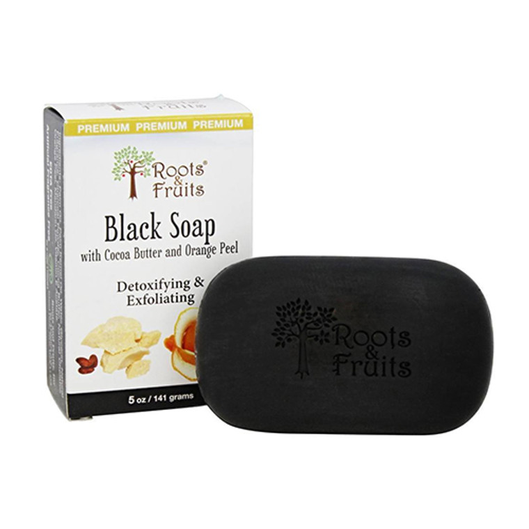 Roots And Fruits Black Soap With Cocoa Butter And Orange Peel, 5 Oz