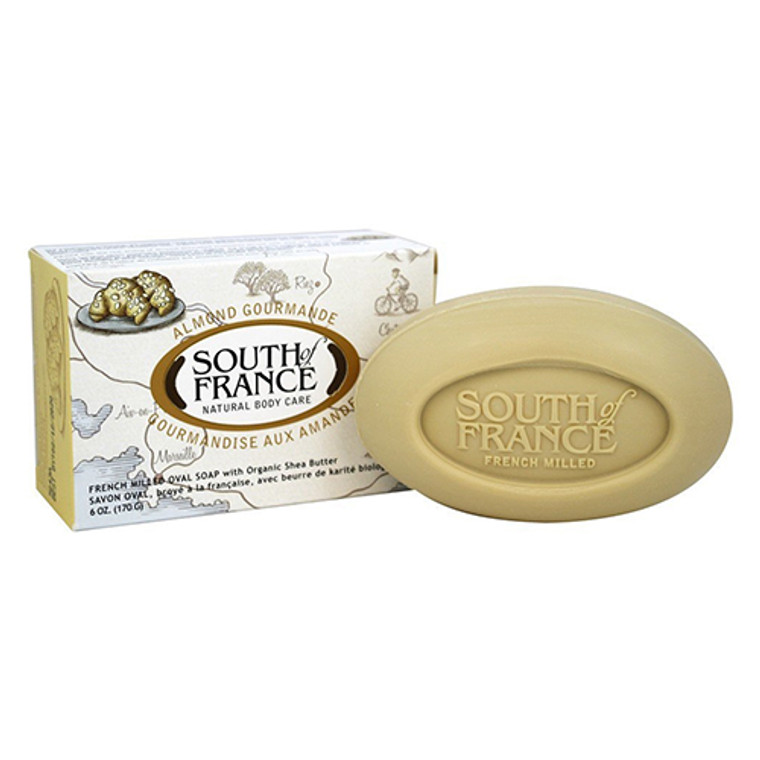 South Of France French Milled Vegetable Bar Soap, Almond Gourmande, 6 Oz