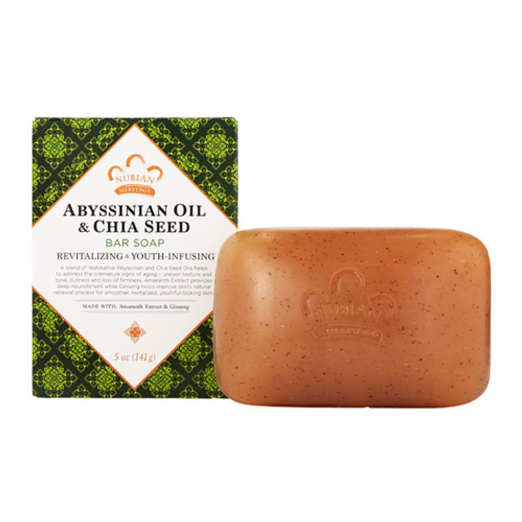 Nubian Heritage Abyssinian Oil and Chia Seed Skin Bar Soap, 5 oz