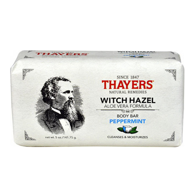Thayers Body Bar Soap with Witch Hazel and Aloe Vera Peppermint, 5 Oz.