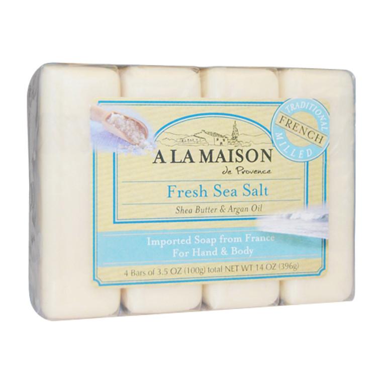 A La Maison with Shea Butter and Argan Oil Hand and Body Bar Soaps, Fresh Sea Salt, 4 Ea