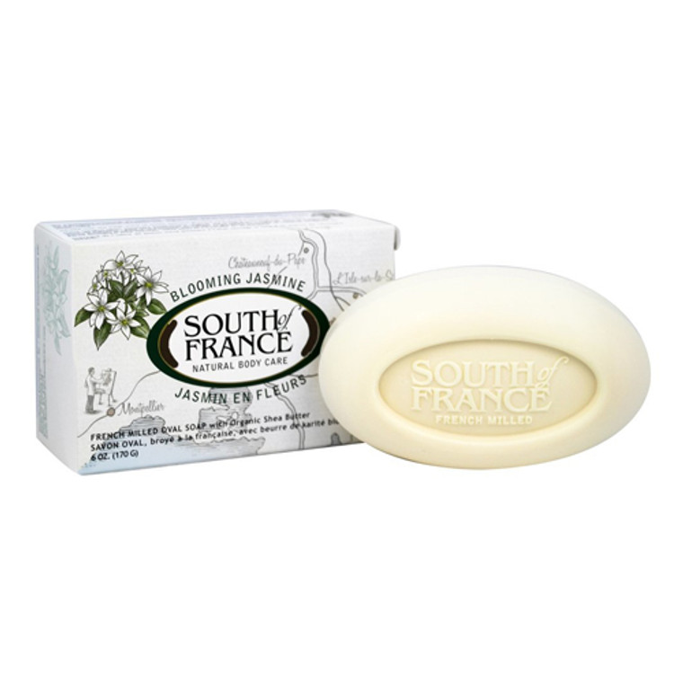 South of France Blooming Jasmine French Milled Vegetable Oval Bar Soap With Organic Shea Butter, 6 Oz