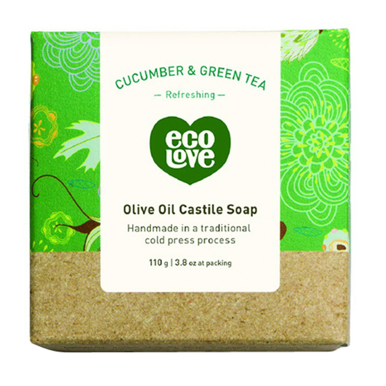 EcoLove Olive Oil Castile Bar Soap Refreshing Cucumber And Green Tea, 3.8 Oz