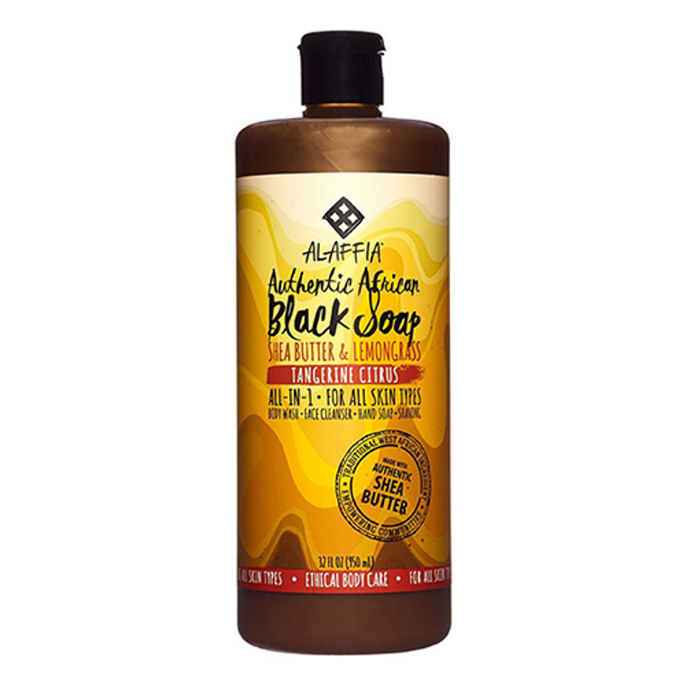 Alaffia Authentic African Black Soap, Tangerine Citrus, 32 Oz