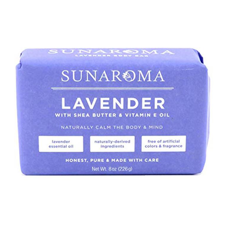 Sunaroma Lavender with Shea Butter and Vitamin E Oil Bath Soap, 8 Oz