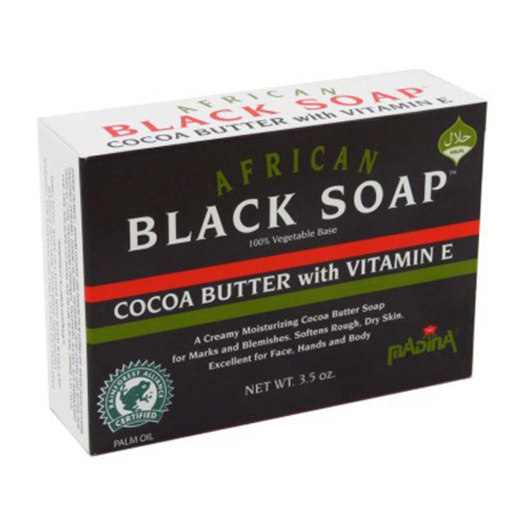 Madina African Black Body Soap, Cocoa Butter with Vitamin E, 3.5 Oz