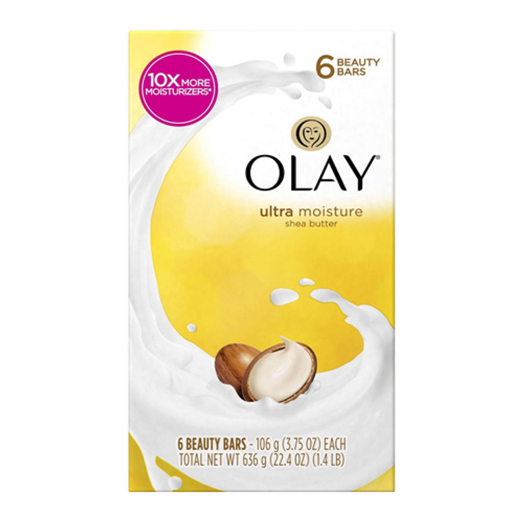 Olay Ultra Moisture Shea Butter Beauty Bar, 3.75 Oz, 6 Bars
