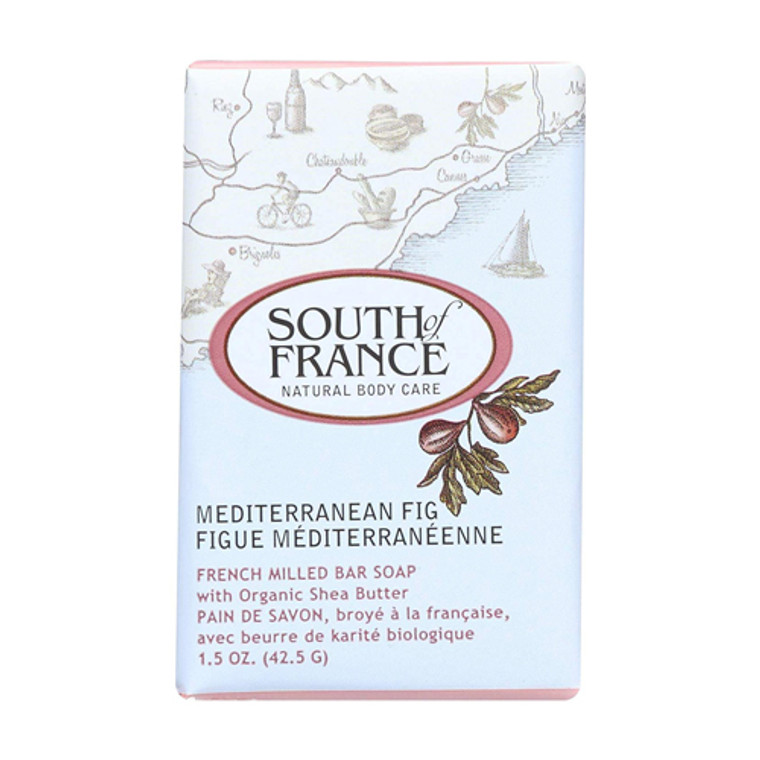 South Of France Natural Body Care Bar Soap Travel Size, Mediterranean Fig, 1.5 Oz