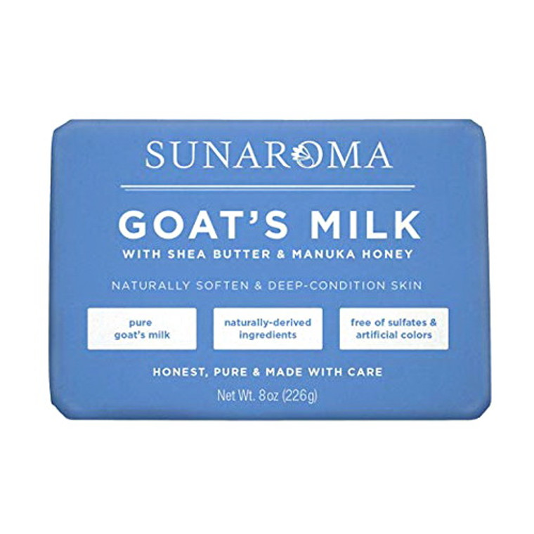 Sunaroma Goats Milk Bath Soap with Shea Butter and Manuka Honey, 8 Oz