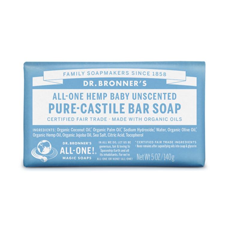 Dr. Bronners Pure-Castile Baby Mild Unscented Bar Soap, 5 Oz