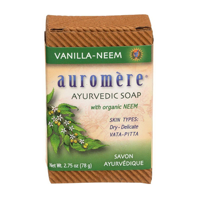 Auromere Ayurvedic Bar Soap for Dry and Delicate Skin, Vanilla and Neem, 0.71 Oz
