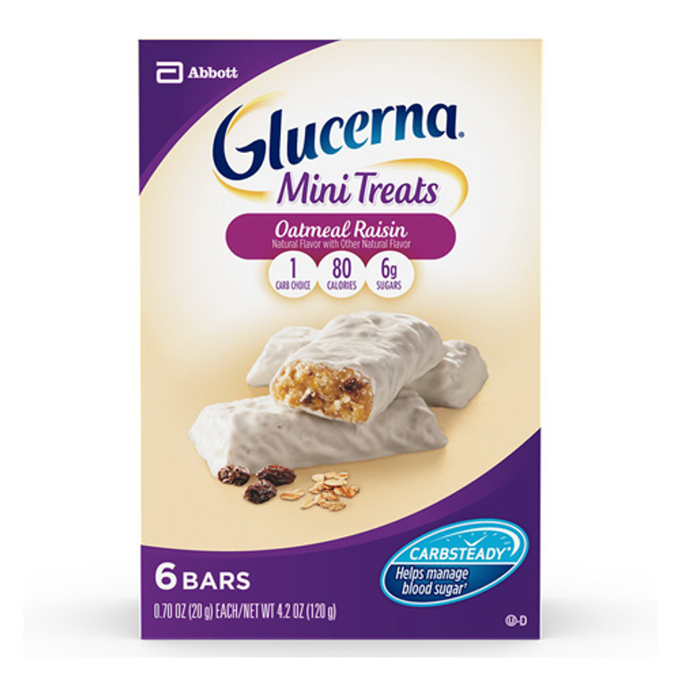 Glucerna Mini Treats Oatmeal Raisin Bars, 6 Ea