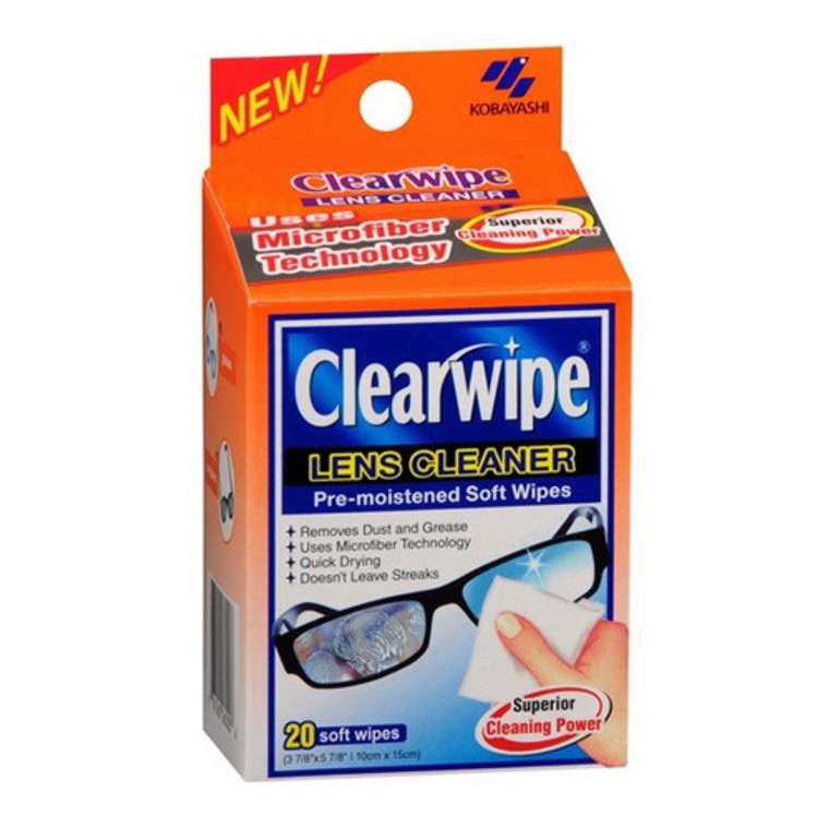 Clearwipe Lens Cleaner Pre Moistened Soft Wipes, 20 Ea