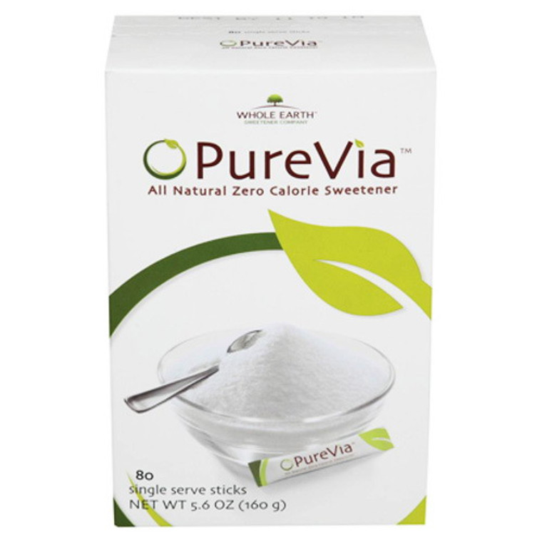 Purevia All Natural Zero Calorie Sweetner Powder Packets - 80 Ea