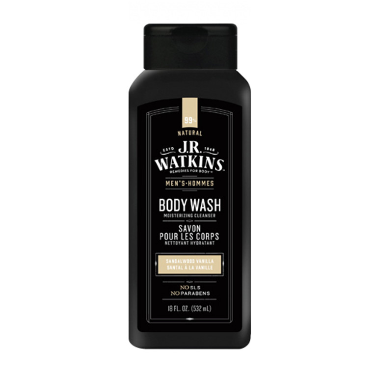 J.R. Watkins Mens Body Wash, Sandalwood Vanilla, 18 Oz