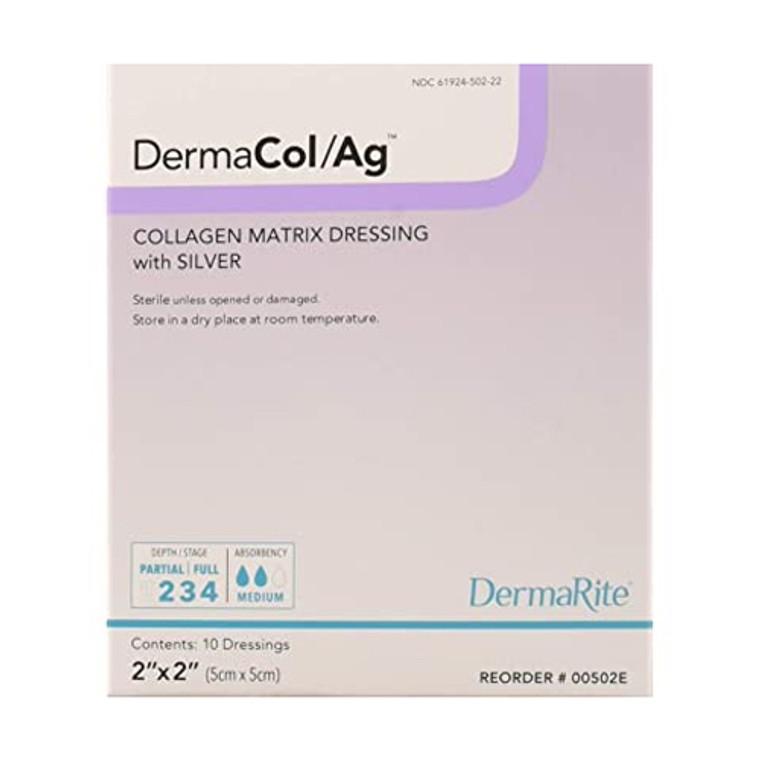 "Dermarite Industries Dermacol Ag Silver Collagen Dressing, 2""x2"", 10 Ea"