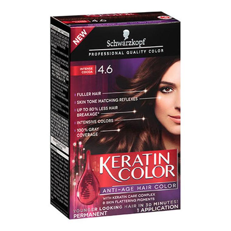 Schwarzkopf Keratin Anti-Age Permanent Hair Color Kit, Intense Cocoa 4.6, 1 Application