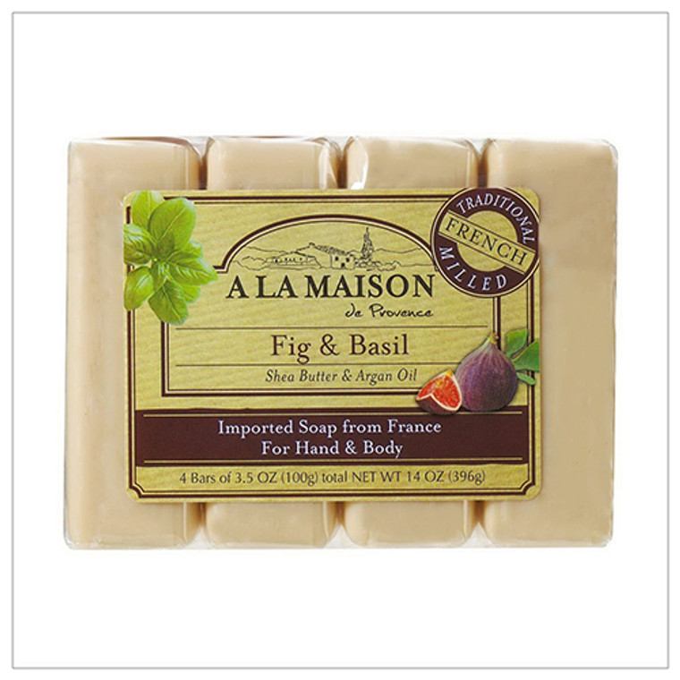 A La Maison Traditional French Milled Bar Soap for Hand & Body Value Pack Fig And Basil 0.35 Oz, 4 Ea
