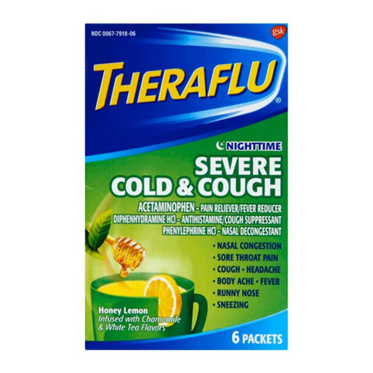 Theraflu Nighttime Severe Cold & Cough Packets, Honey Lemon, Chamomile & White Tea Flavors, 6 Ea
