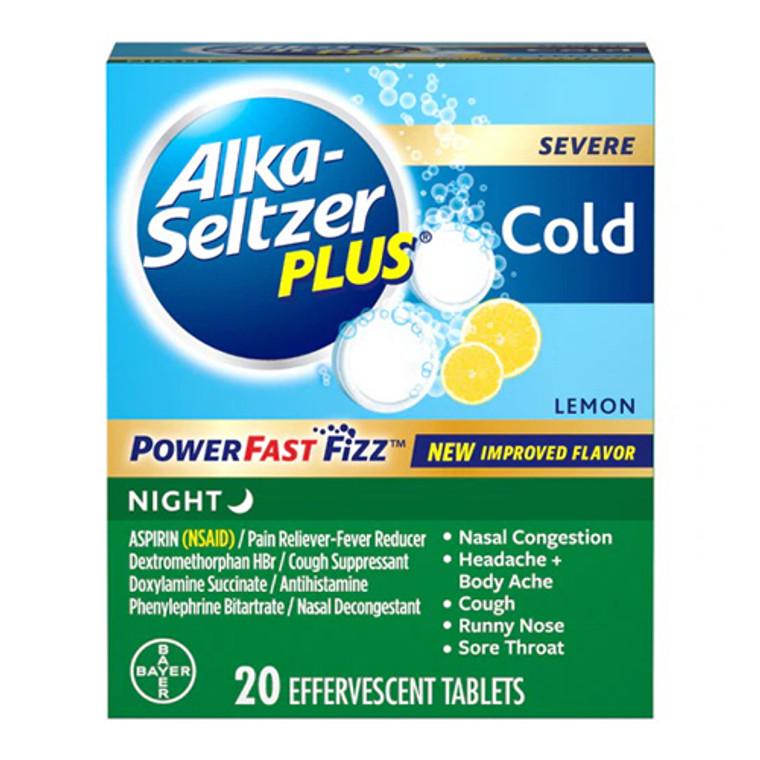 Alka-Seltzer Plus Severe Night Cold Powerfast Fizz Lemon Effervescent Tablets, 20 Count
