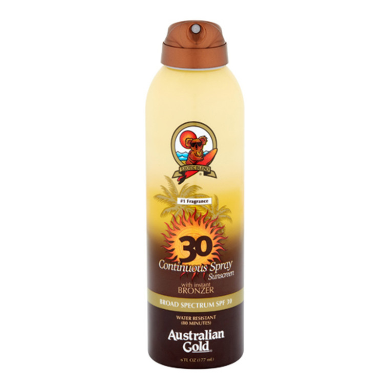 Australian Gold SPF 30 Continuous Spray Sunscreen with Instant Bronzer, 6 Oz