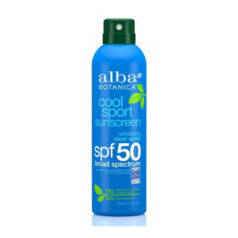 Alba Botanica Cool Sport Clear Spray Sunscreen SPF 50, 6 Oz