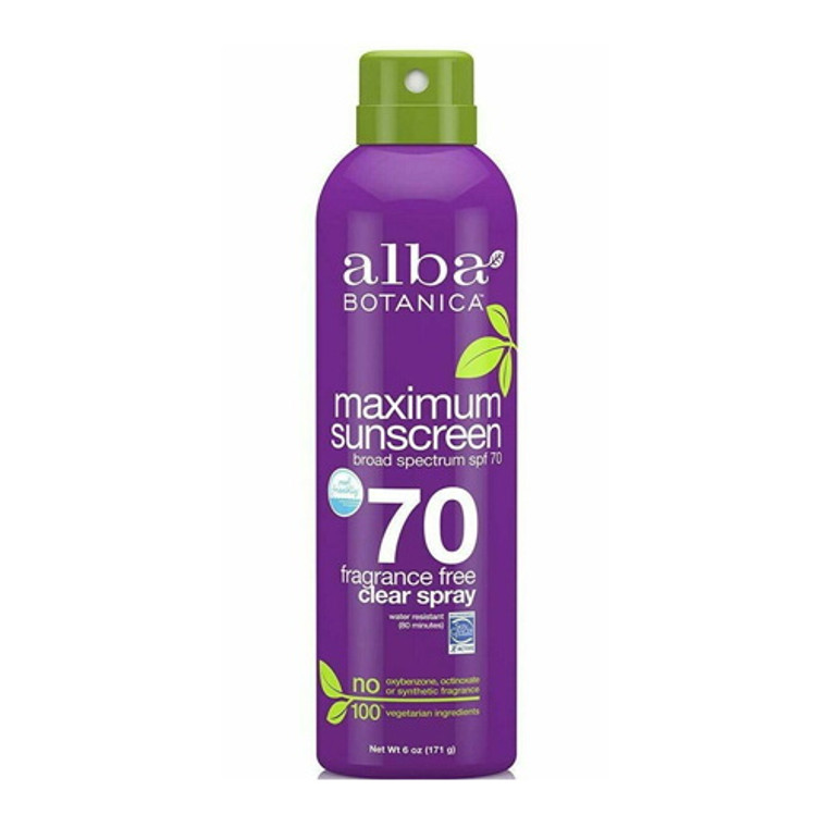 Alba Botanica Maximum Sunscreen Fragrance Free Clear Spray SPF 70, 6 Oz