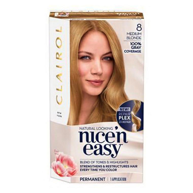 Clairol Nice n Easy Permanent Hair Color 8 Medium Blonde, 1 Kit