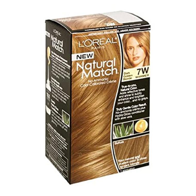 L'Oreal Natural Match No-Ammonia Color-Calibrated Creme, Dark Golden Blonde, 7W Warmer, 1 Kit