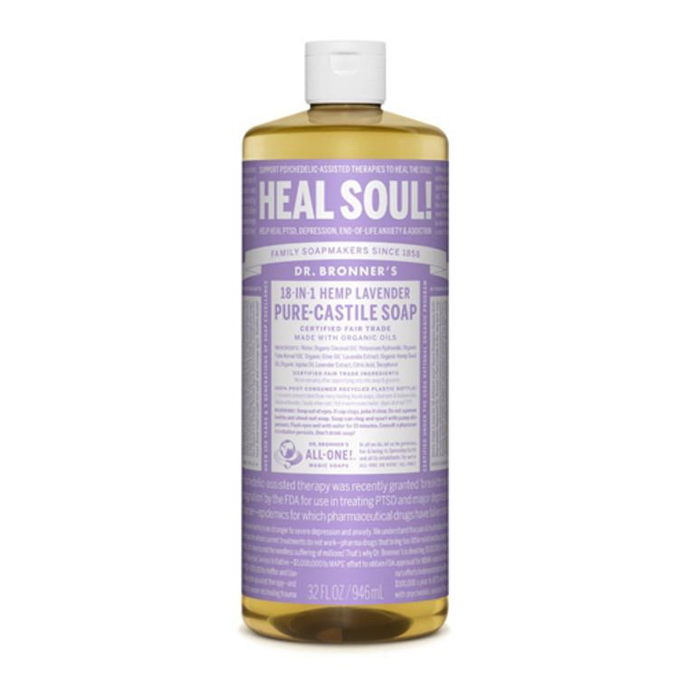 Dr.Bronners Magic Pure Castile Organic 18-In-1 Hemp Lavender Liquid Soap, 32 Oz