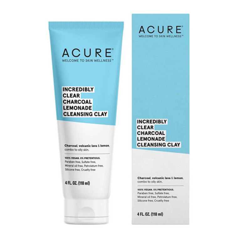 Acure Incredibly Clear Charcoal Lemonade Cleansing Clay, 4 Oz