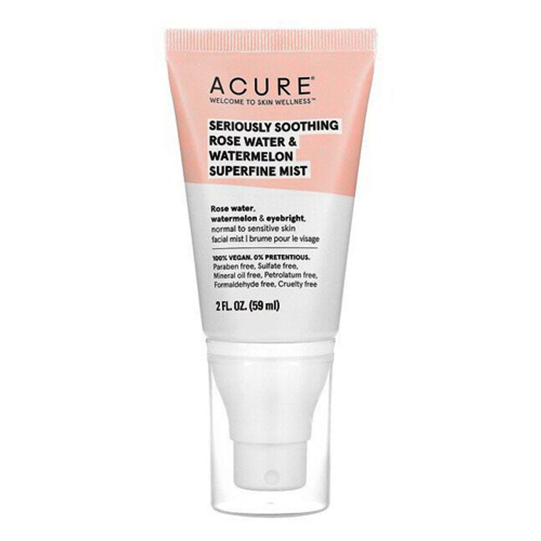 Acure Seriously Soothing Rosewater and Watermelon Superfine Mist, 2 Oz