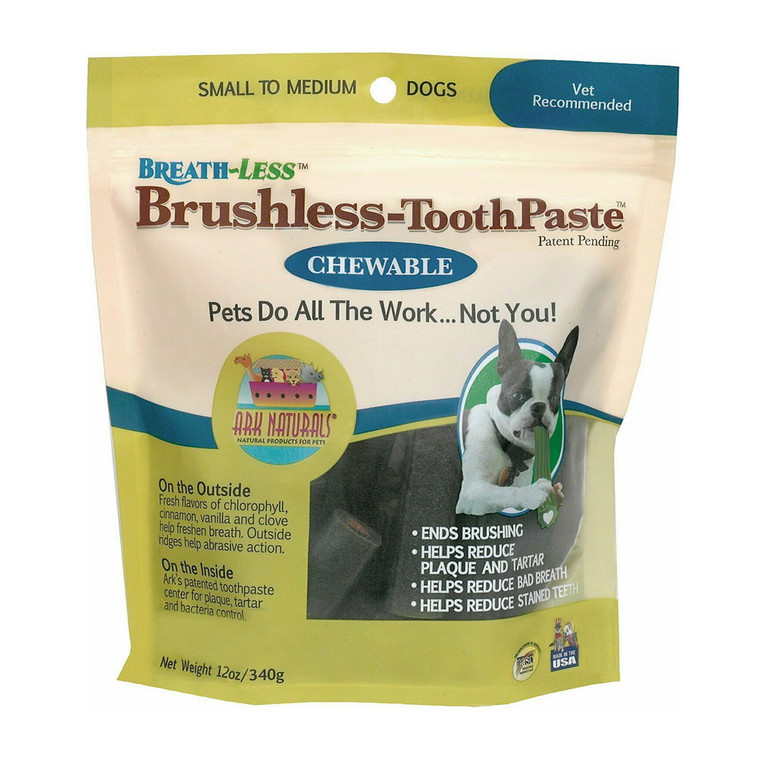 Ark Naturals BreathLess Brushless Toothpaste Chewables for Small to Medium Dogs, 12 Oz