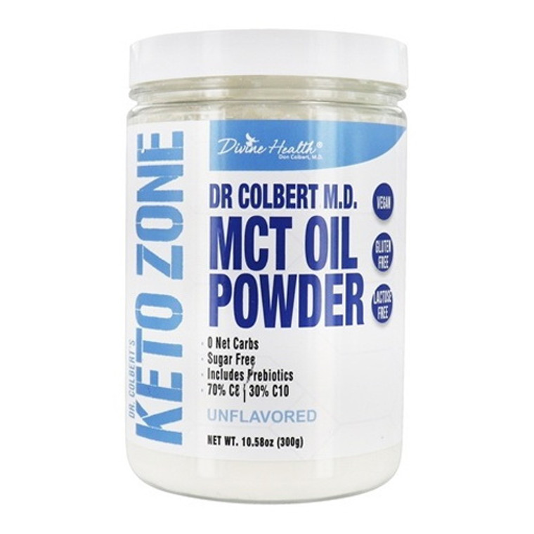 Divine Health Dr. Colberts Keto Zone, MCT Oil Powder, Unflavored, 10.58 Oz